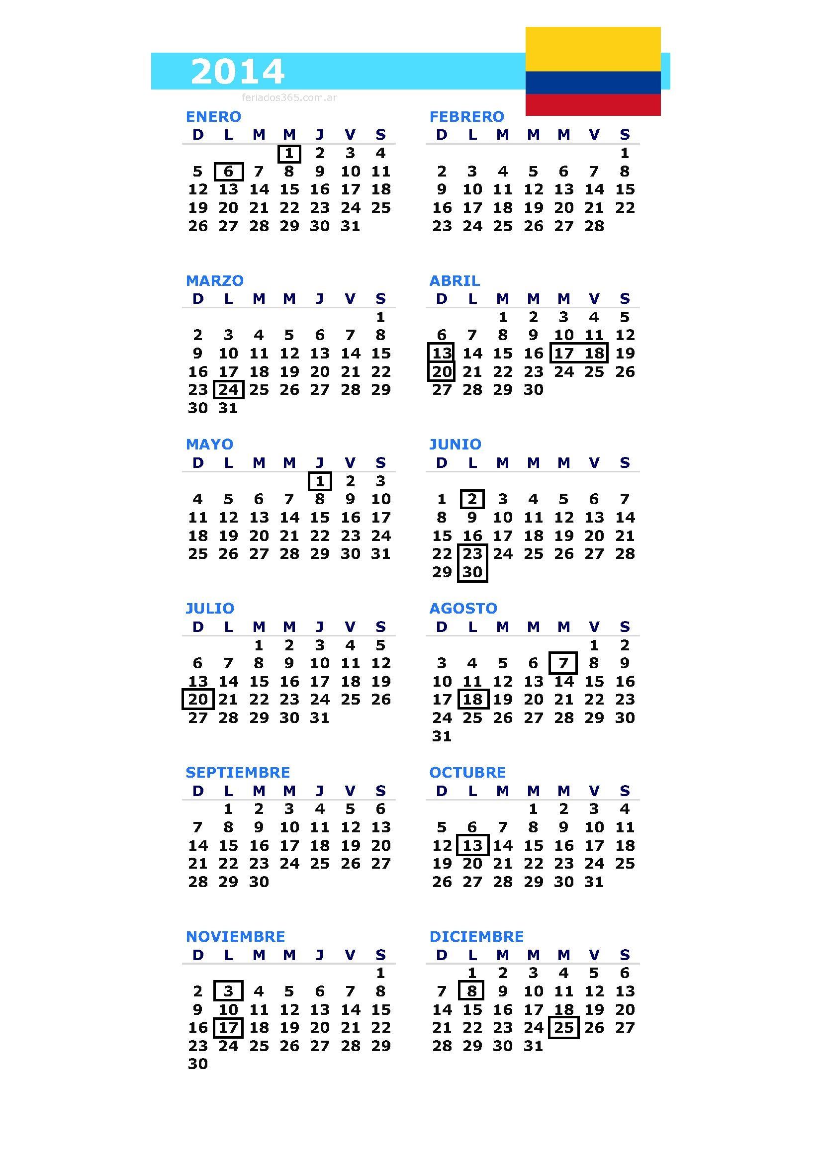 Calendario y Feriados Colombia 2014 | La Economia de Hoy