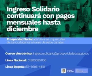 Fechas de Pago Ingreso Solidario Colombia ¿cuándo cobro?